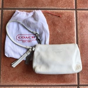Coach Embossed Leather Wristlet White Tassel Bag